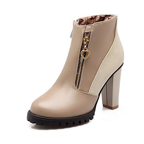 AllhqFashion Damen Hoher Absatz Rein Knöchel Hohe Stiefel mit Metallisch Aprikosen Farbe