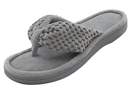 Women's Cozy Memory Foam Plush Gridding Velvet Lining Spa Thong Flip Flops Clog Style House Indoor Slippers (Large / 9-10 B(M) US, Gray)