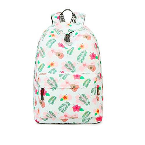 Tejido de poliéster impermeable Moda Mujer Beige Flores Mochila de gran capacidad femenina de impresión portátil de viaje mochilas escolares Beige