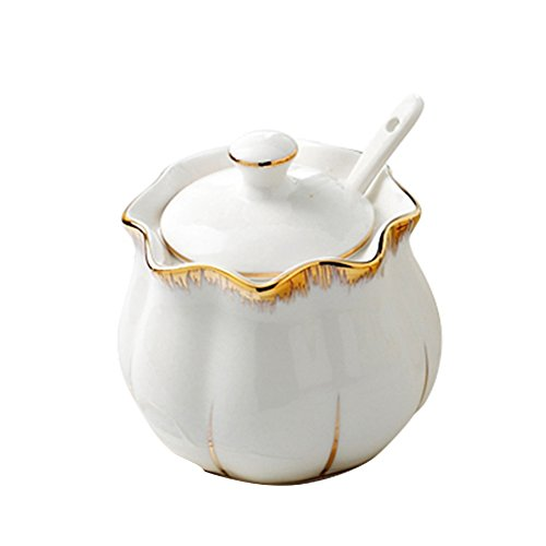 - DoDola Ceramics Gold Rim Sugar Bowl Spice Jar Seasoning Box with Lid and Spoon, White