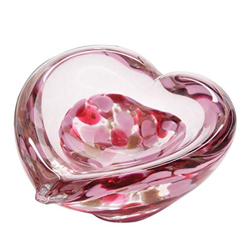 Caithness Glass Crystal Sarah P Art Glass Fuchsia Mini Heart Bowl, Pink Dartington Crystal U09118