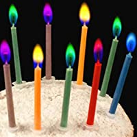KACAT Birthday Cake Candles in Holders Cake Tricks and Decorations - Colors: red, Pink, Yellow, Blue, Green, Purple - 12 Pieces