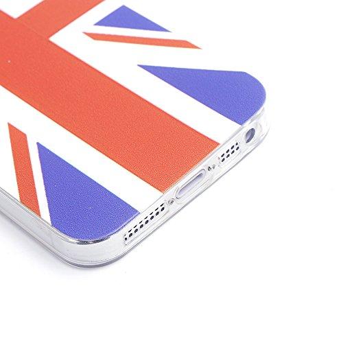 iProtect EM Schutzhülle Apple iPhone 5 5s SE Flag TPU Soft Case England Flagge