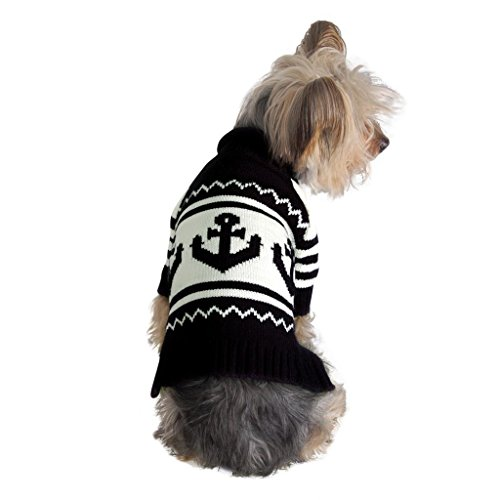 Cute Warm Anchor Dog Sweater, Navy Blue,  For Puppies and Small Breeds