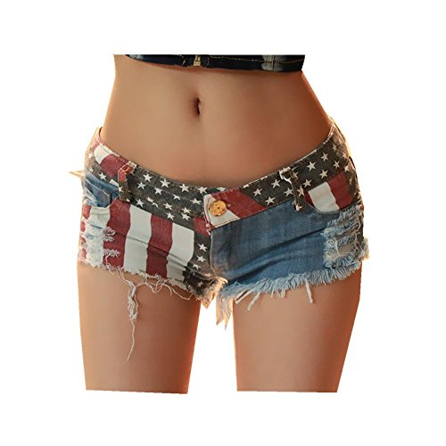 Duke Womens Shorts - DEELI KAKA Women's Low-Rise American Flag Print Daisy Duke Ripped Denim Shorts (X Large)