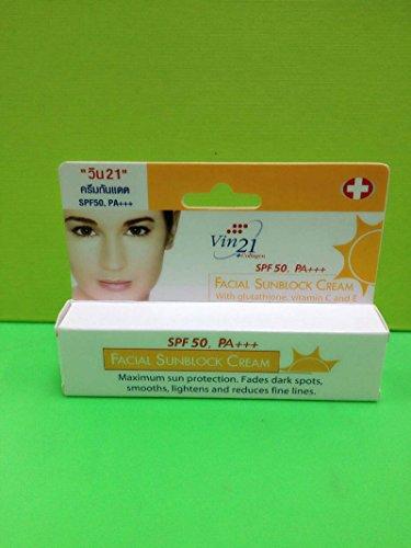 (Vin21 Facial Sunblock Cream 15ml, Sunscreen and Nourishing the Skin.)