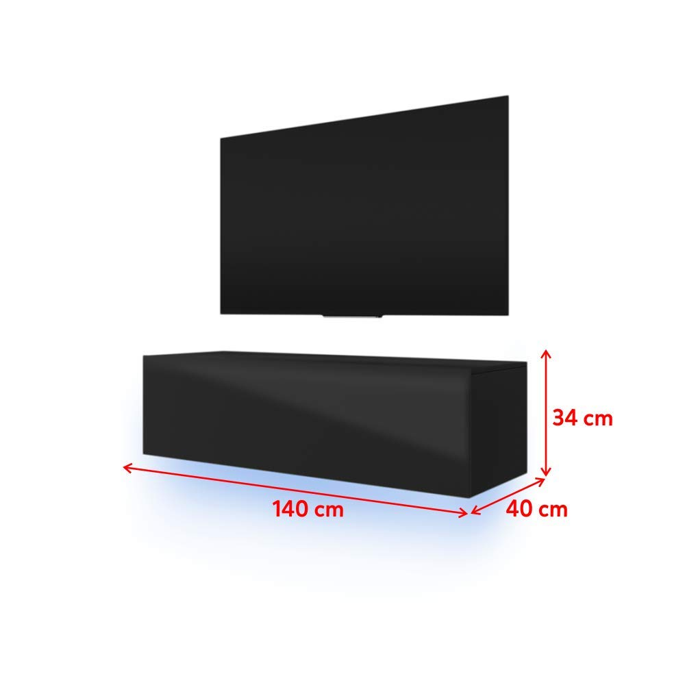 40 x 140 x 34 cm nero Mobile TV con pannello frontale lucido e LED RGB Selsey Lana