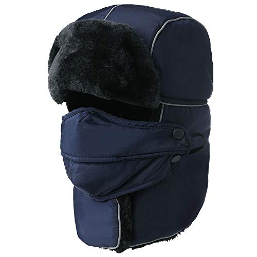 Mens Women Windproof Trapper Faux Fur Ear Flaps Hunting Bomber Russian Hat Face Mask Navy -