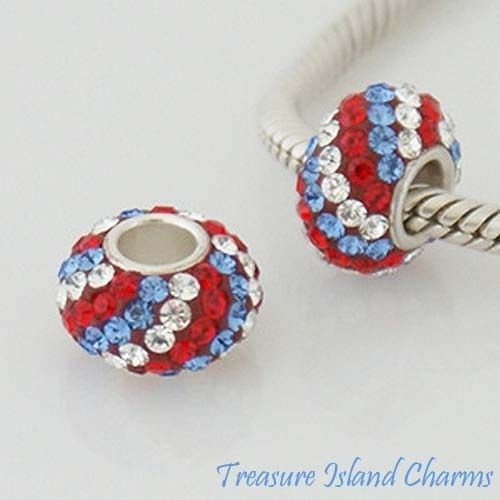 RED WHITE BLUE USA STRIPES CZ CRYSTAL .925 Sterling Silver EUROPEAN Bead Charm Jewelry Making Supply Pendant Bracelet DIY Crafting by Wholesale - White Bronze Pendant Stripes