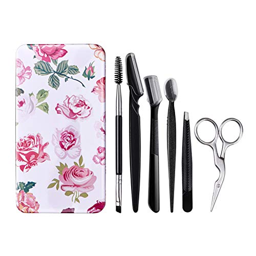 Eyebrow Kit - FITDON Eyebrow Grooming Set, Professional Slant Tip Tweezers & Curved Stainless Steel Scissors & 3PCS Brow Razors Trimmer & Duo Angled Eyebrow Brush with Spoolie