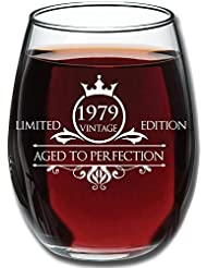 1979 40th Birthday Gifts for Women and Men Wine Glass - Funny Vintage Aged To Perfection - Anniversary Gift Ideas for Mom Dad Husband Wife – 40 Year Old Party Supplies Decorations for Him, Her - 15oz