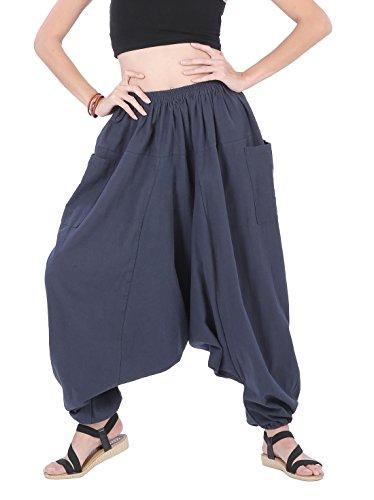 CandyHusky Men Women 100%Cotton Loose Baggy Boho Gypsy Aladdin Yoga Harem Pants (Blue)