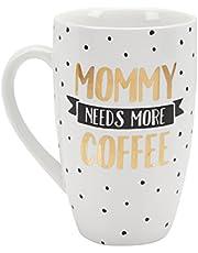 Pearhead Mommy Needs More Coffee Giftable Mug, White