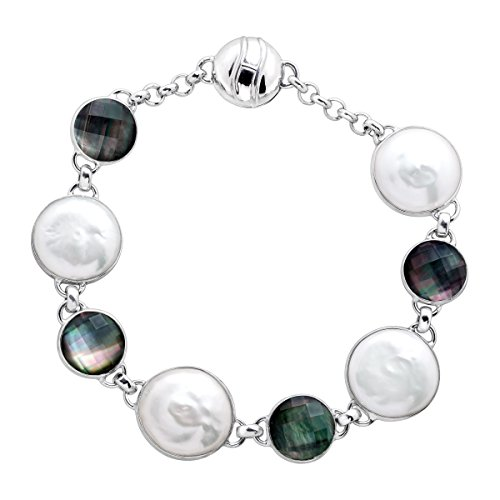 Honora Freshwater Coin Cultured Pearl & Black Mother-of-Pearl Doublet Link Bracelet in Sterling Silver
