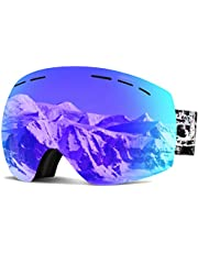 PUNZYMO Ski Goggles Anti-fog UV Protection Professional REVO Mirror Lens with Over Glasses OTG For Skiing & Snowboard for Men & Women