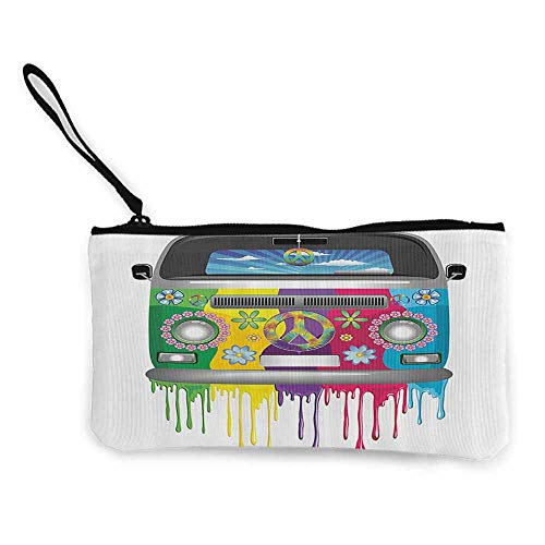 Printed Canvas Purse Groovy Decorations,Hippie Van Dripping Rainbow Paint Good Old Days Pop Culture Vacation Transport W8.5