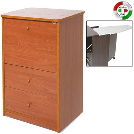 Mobile con asse da stiro in legno con 3 cassetti ciliegio cm ...