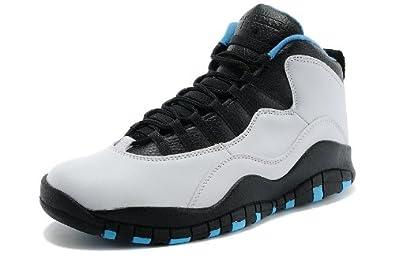 1ba397c144cb7 Amazon.com   Nike Air Jordan Retro 10 Men Sneakers White/Black/ Dark Powder  Blue 310805-106 (SIZE: 9.5)   Fashion Sneakers