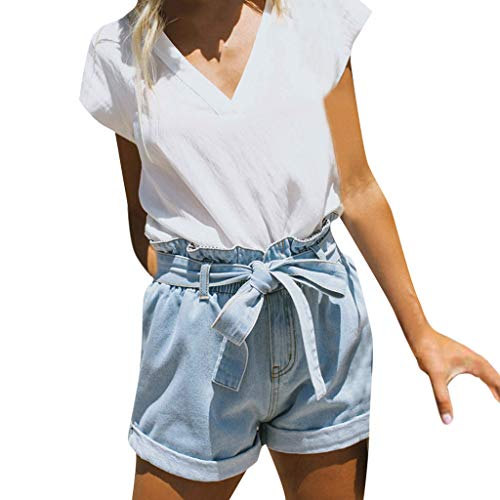 Pleats Denim Shorts - Riverdalin Women Jeans Ladies Casual Fashion High Waist Denim Shorts Paperbag Elastic Pants with Belt