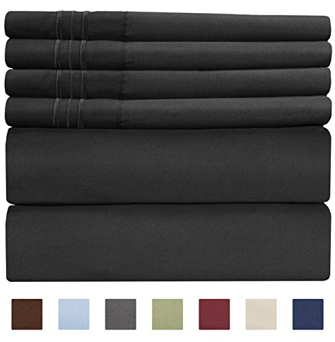 Full Size Sheet Set - 6 Piece Set - Hotel Luxury Bed Sheets - Extra Soft - Deep Pockets - Easy Fit - Breathable & Cooling Sheets - Wrinkle Free - Comfy - Black Bed Sheets - Fulls Sheets - 6 PC