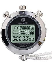 Cronómetro digital, cronómetro de metal con memoria de 10 vueltas, cronómetro resistente al agua para deportes, competiciones, juegos