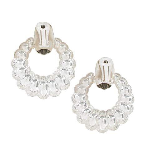 Clip On Earrings Bold Door Knocker Silver Tone 2 1/2