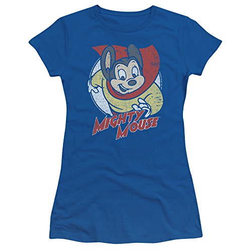 Mighty Mouse - Womens Mighty Circle T-Shirt, Large, Royal Blue