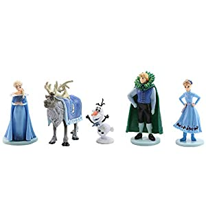 5Pcs Frozen cake topper Action Figure Toys Premium Frozen Cake Toppers Frozen cake decorations and Party Favors for Frozen party supplier birthday