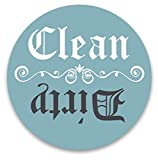 Dishwasher Magnet Clean Dirty Aqua Blue Teal & Grey 3 inch Round Magnet - Retro Clean Design Flip Kitchen Magnet for Home Decor, Gift for Men & Women, Home Made in USA