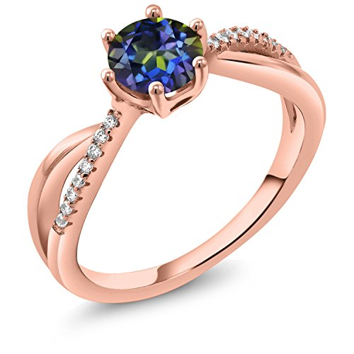 Gem Stone King 1.19 Ct Round Blue Mystic Topaz 18K Rose Gold Plated Silver Ring (Size 7)