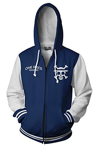 UU-Style One Piece The Straw Hat Pirates Cosplay Coatume Luffy Jolly Rogers Hoodies Sweater Unisex (4X-Large, Blue)