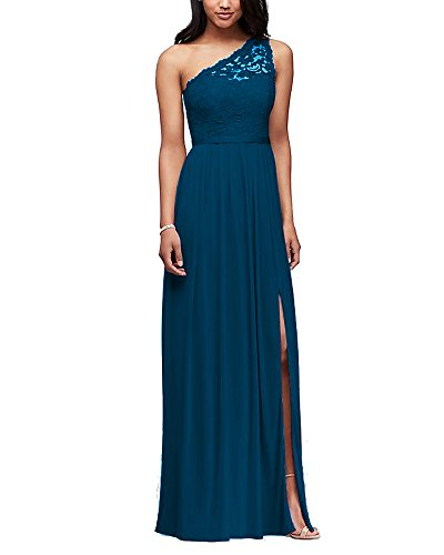 Skirt Dress Full Prom Chiffon (Now and Forever Women's One Shoulder Lace Bridesmaid Dresses Floor Length Chiffon Side Slit Formal Evening Prom Gowns (Peacock,4))
