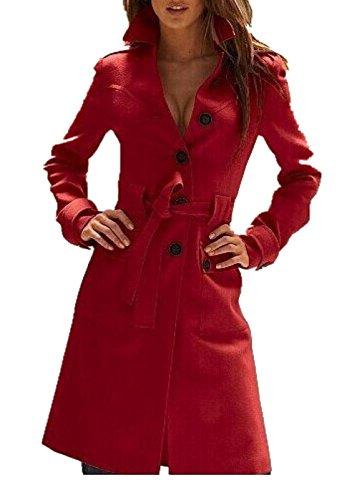 Tengfu Women Winter Single Breasted Slim Wool Long Pea Trench Coat With Belt Red