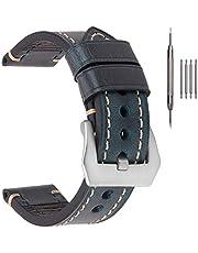 EACHE Tjocka läderarmband för män, galen häst/oljevaxad läderarmband 20 mm 22 mm 24 mm 26 mm fler färger