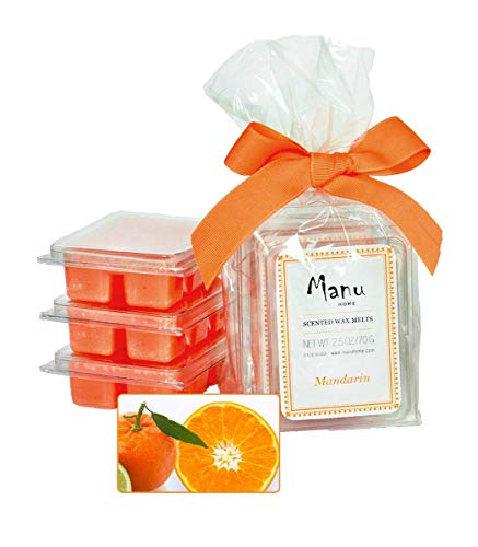 Manu Home 7.5 oz Mandarin Scented Wax Melts ~ 3-Pack ~ 50+ Hours of Fragrance When Wax Cubes are Melted in Scentsy or Standard Electric Warmer. Aromatherapy Oils ~ Made in USA