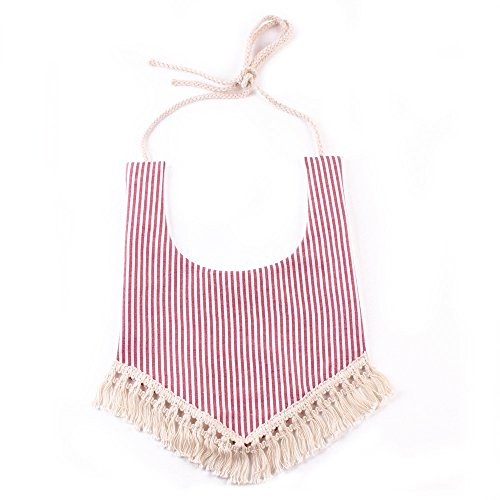 Floral Fall Baby Infant Toddler Bibs Cotton Bandana Vintage Pastoral Print Tassel Saliva Towel BT-04 (Red Stripe) Print Vintage Bib