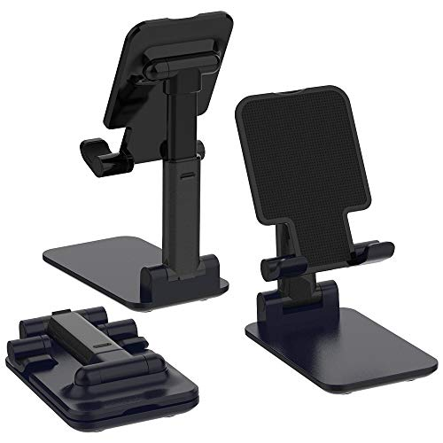 Adjustable Cell Phone Holder, TIQUS Foldable Universal Smart Phone Stand Mobile Phone Mount for Desk Compatible with…
