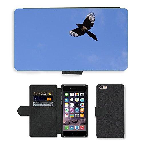 "Just Phone Cases PU Leather Flip Custodia Protettiva Case Cover per // M00128031 Elster Vol oiseau de plumes // Apple iPhone 6 PLUS 5.5"""
