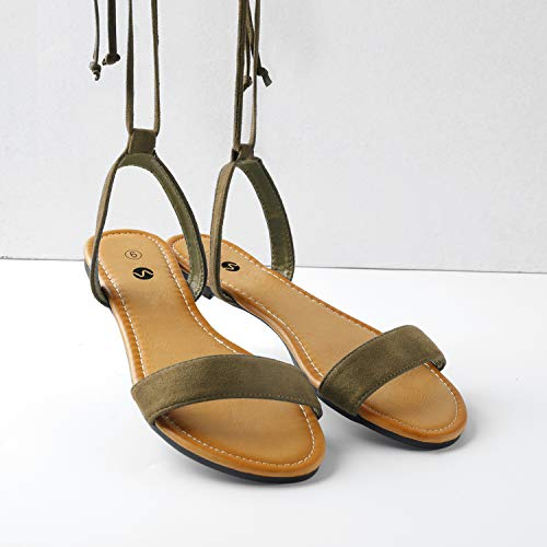 Up Tan Flat Sandals for Rekayla Open Women Ankle Toe Tie Wrap 4pP7vqtx