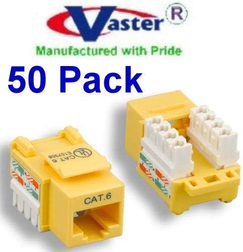 50 Pcs//Pack Cat6 Punch-Down TAA GSA RJ45 Female Yellow Wallplate Keystone Jack