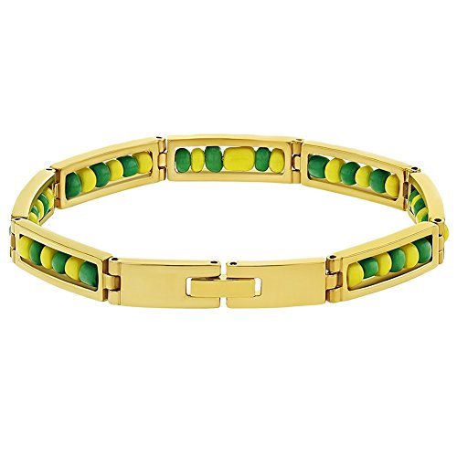 In Season Jewelry Stainless Steel Orula Bracelet Green Yellow Beads Babalawo Amulet Protection 8