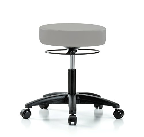 Perch Stella Rolling Height Adjustable Salon & Spa Stool for Hardwood or Tile | Desk Height 18.5-24 Inches | 300-Pound Weight Capacity | 12 Year Warranty (Gray Vinyl)