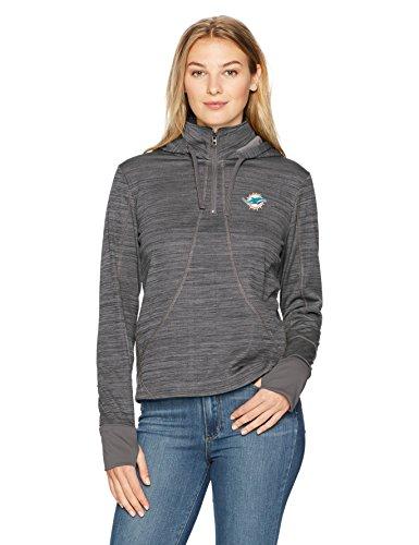 NFL Miami Dolphins Women's Ots Annabelle 1/4-Zip Pullover Hoodie, Medium, Jet Black