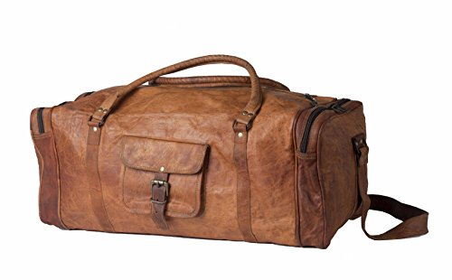 Leather Vintage Trim Travel Duffel Bag Unisex Gym Sports Shoulder Bag By INDO CRAFT - Monday Sale Gucci Cyber