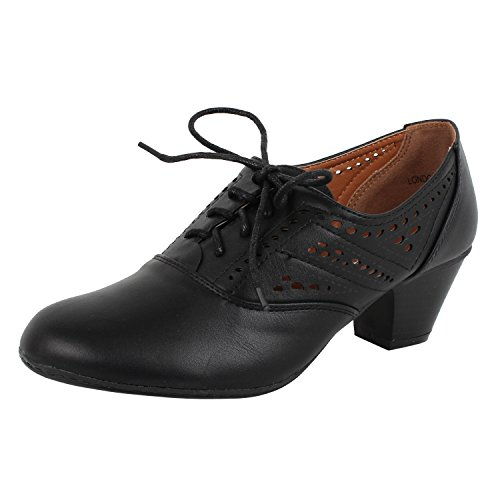 20s Womens Shoes (REFRESH Women's London-01 Cutout Dressy Heeled Lace-up Oxford Shoe (Black, 10 M)