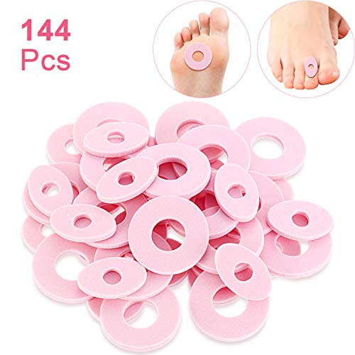 Patelai 144 Pieces Callus Pads, Soft Foam Callus Cushions Toe Pads, Toe and Foot Protectors and Thick Corn Cushions Toe Pads and Waterproof, Rubbing on Shoes, Reduce Foot and Heel Pain