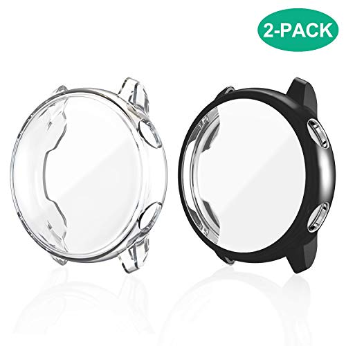 (2 Pack) Fyoung Screen Protector Cover Case for Samsung Galaxy Watch Active Case, All Around Ultra-Thin Soft TPU Clear Touch Screen Protector Bumper Case for Samsung Galaxy Watch Active(Clear+Black)