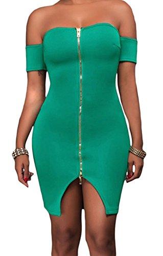 YeeATZ Women's Fahion Sexy Green Off Shoulder Front Zip and Slit Dress