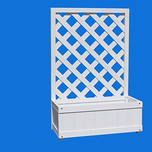 (Hzpxsb Floor Grille Flower Stand White Plant Stand Multi-Function Balcony Wooden Lattice Bookshelf Rack)