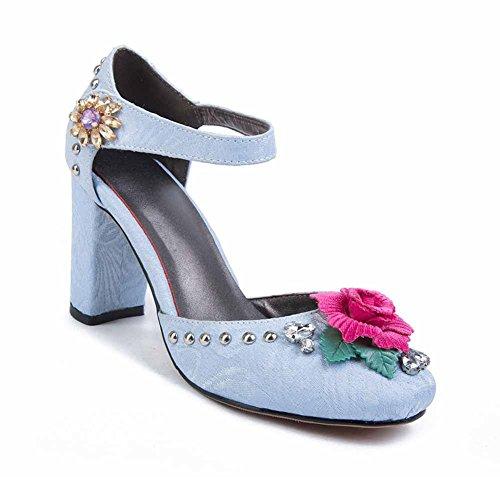 de 2018 Azul gran la flor Sandalias D'orsay nuevo la de mujeres de la de hebilla Bohemia correa tamaño de estrecha verano correa del tobillo las SHINIK nI40Wq4